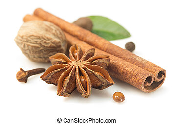 cinnamon sticks, anise star and other spices