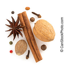 cinnamon sticks, anise star and spices