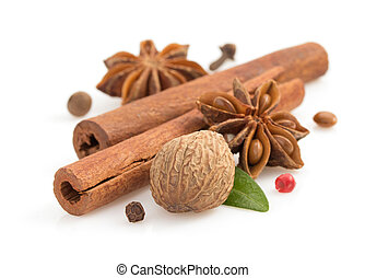 cinnamon sticks, anise star and spices on white