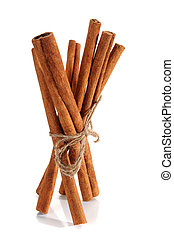 Cinnamon sticks studio isolated on white background