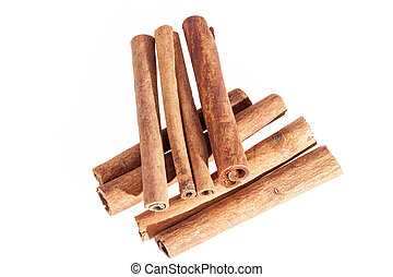 Cinnamon sticks isolated on white background, close up.