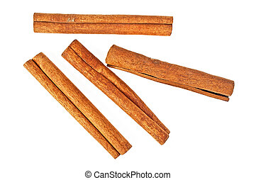Cinnamon sticks isolated on white background, top view