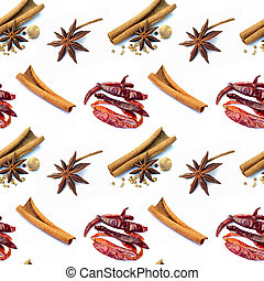 Cinnamon sticks on a white pattern background seamless design