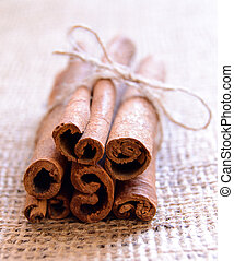 Cinnamon Sticks on Burlap Background