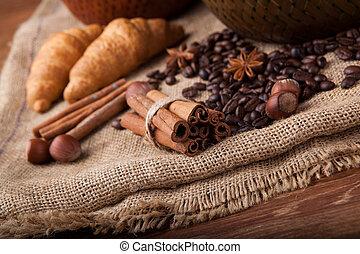 cinnamon sticks on the bag close up