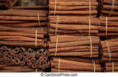 Cinnamon sticks on tied rolls. Canella natural brown ...