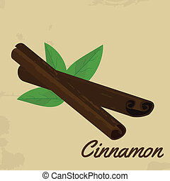 Cinnamon sticks on vintage poster design, vector illustration
