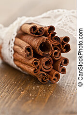 Cinnamon sticks rolled in a bundle