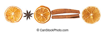 Cinnamon sticks, slices of dried lemon, star anise isolated on white background. Top view