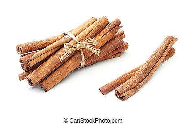 cinnamon sticks - bundle of cinnamon sticks with two beside