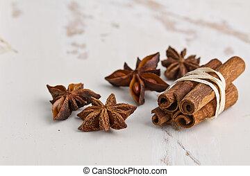 cinnamon sticks with anise stars