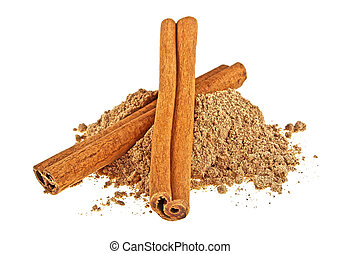 Cinnamon sticks with powder isolated on white background