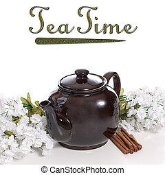 Cinnamon Tea - An old fashioned tea pot with some cinnamon...