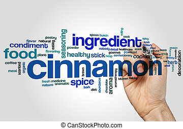 Cinnamon word cloud concept on grey background