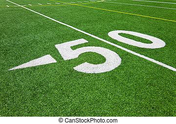 cinqüenta, linha terreno, -, campo futebol americano