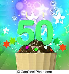 cinqüenta, vela, ligado, cupcake, significado, especiais, celebração, ou, colorido, evento