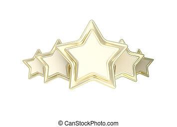 cinq, étoile, classement, emblème, doré