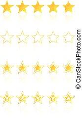 cinq, étoile, qualité, récompense, icônes