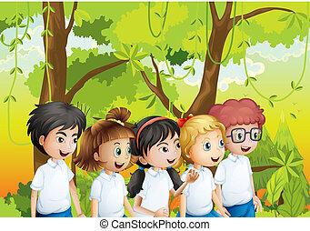 cinq, étudiants, à, les, forêt