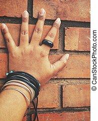 cinq, bracelet, doigts