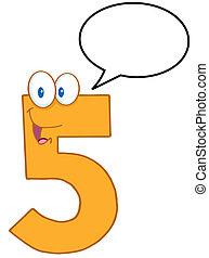 cinq, caractère, nombre, dessin animé