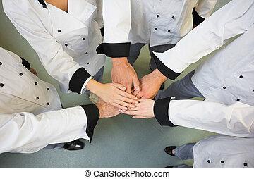 cinq, chefs, cercle, mains, joindre