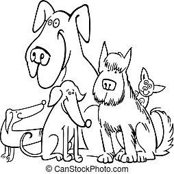 cinq, coloration, groupe, chiens