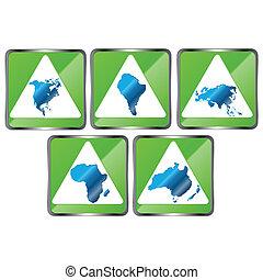 cinq, continents, signes