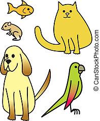 cinq, dessin animé, animaux familiers