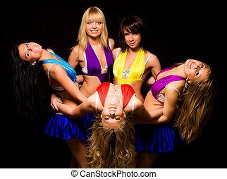 cinq, femmes, équipe
