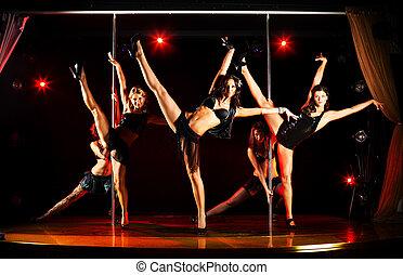 cinq, femmes, acrobatique, exposition