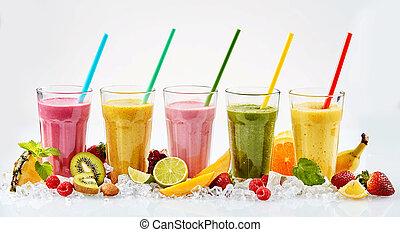 cinq, grandes lunettes, de, fruit tropical, smoothies