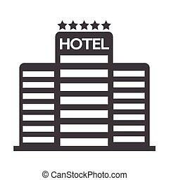 cinq, hôtel, étoile, icône