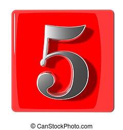 cinq, nombre, icône