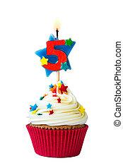 cinq, nombre, petit gâteau