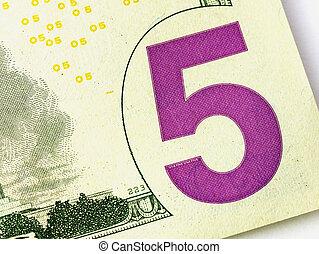 cinq, nous, ou, usa, billet dollar, closeup