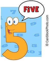 cinq, parole, nombre, bulle