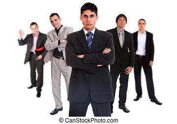 cinq, personne, equipe affaires