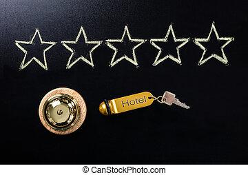 cinq, tableau noir, concept, étoile, service