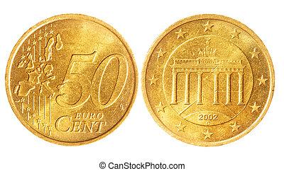 cinquante, pièces, cent, euro