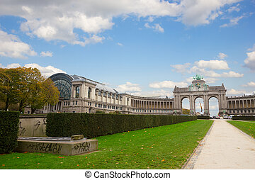 Cinquantennaire Park in Brussels with The Triumphal Arch - ...