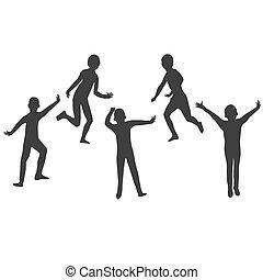 cinque, bambini, silhouette