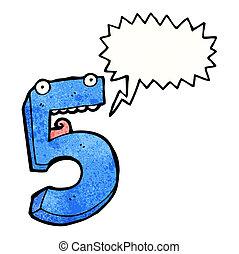 cinque, cartone animato, numero