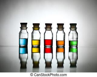 cinque, differente, sostanza, bottiglie, colorato
