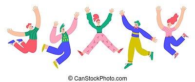 cinque, divertimento, uomini, colorito, persone, aria, trendy, saltare, women., vettore, positivo, hands., illustrazione, elevato