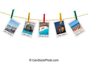 cinque, foto, di, zakynthos, su, clothesline