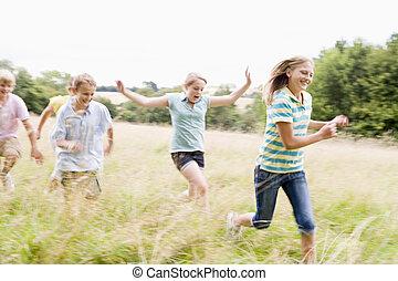 cinque, giovane, amici, correndo, in, uno, campo, sorridente