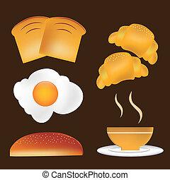 cinque, icone, per, colazione
