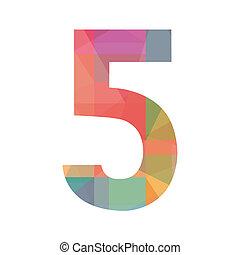 cinque, numero, colorito