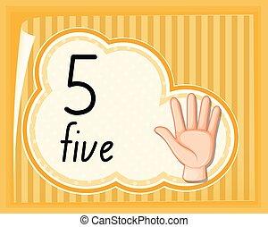 cinque, numero, gesto, mano